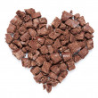 Stock Photo: Heart of dark chocolate pieces.