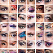 Collection of female eyes images with creative makeup, differen — Foto Stock