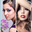 Stock Photo: Collage of 4 closeup beauty images of women of different ethnici