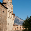 Backyard of Castello del Buonconsiglio, Trento, Italy - Stock Photo