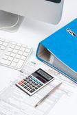 Computer, keyboard, calculator — Stock Photo