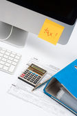 Sticky notes with word tax, computer, keyboard, calculator — Stock Photo