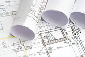 Blueprints of architecture — Stock Photo