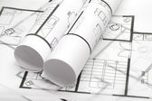 Blueprints of architecture — Stock Photo
