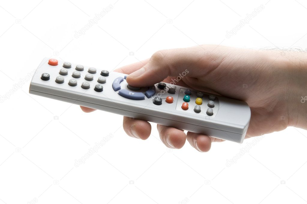 Control pad in right hand on white background — Stock Photo #5866134