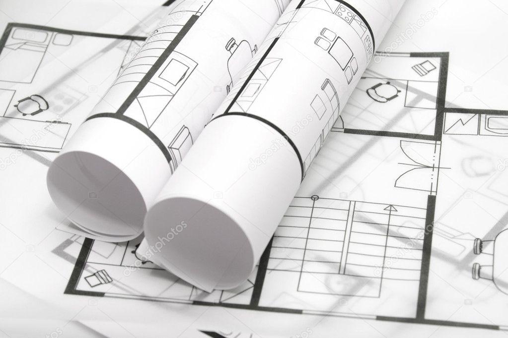 建筑内部在白色背景-房地产中介代理公司的蓝图