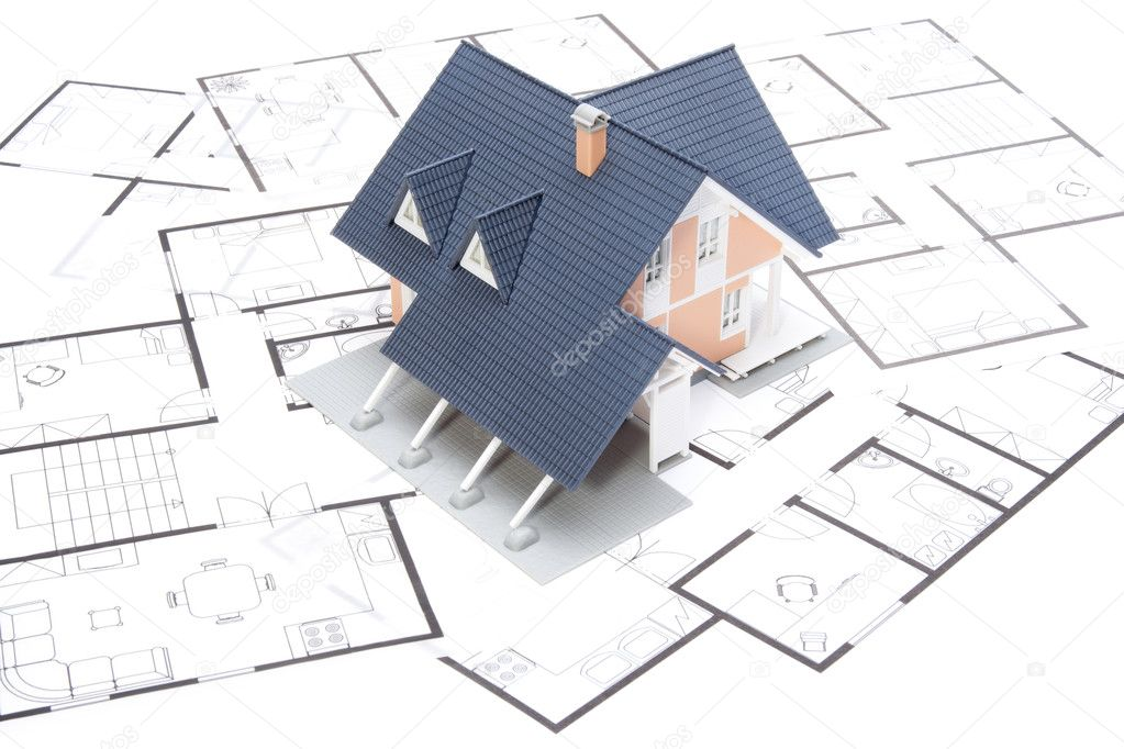 Model of the house on blueprints  Stock Photo #6110939