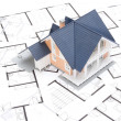 Stock Photo: Blueprints and house