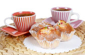 Coffee cup with cake — Stock Photo