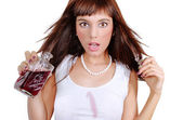 Young brunette surprised — Stock Photo