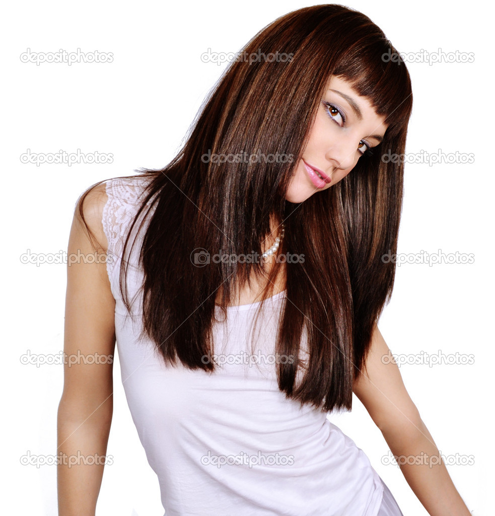 Brunette girl isolated on white background — Stock Photo #5635874