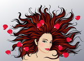 Illustration of woman with long hair — Stock Vector