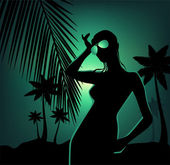 Tropical beach and girl silhouette — Stock Vector