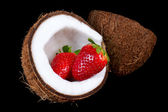 Coconut with strawberry — Stock Photo