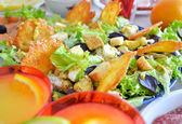Salad with cheese chips and chicken — Stock Photo