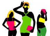 Fashion girl silhouettes — Stock Vector