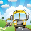 Stock Vector: School buses on a country road