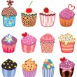 Stock Vector: Colorful cupcakes