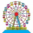 Stock Vector: Ferris wheel with happy children