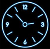 Neon clock — Stock Vector