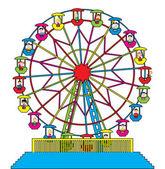 Ferris wheel with happy children — Stock Vector