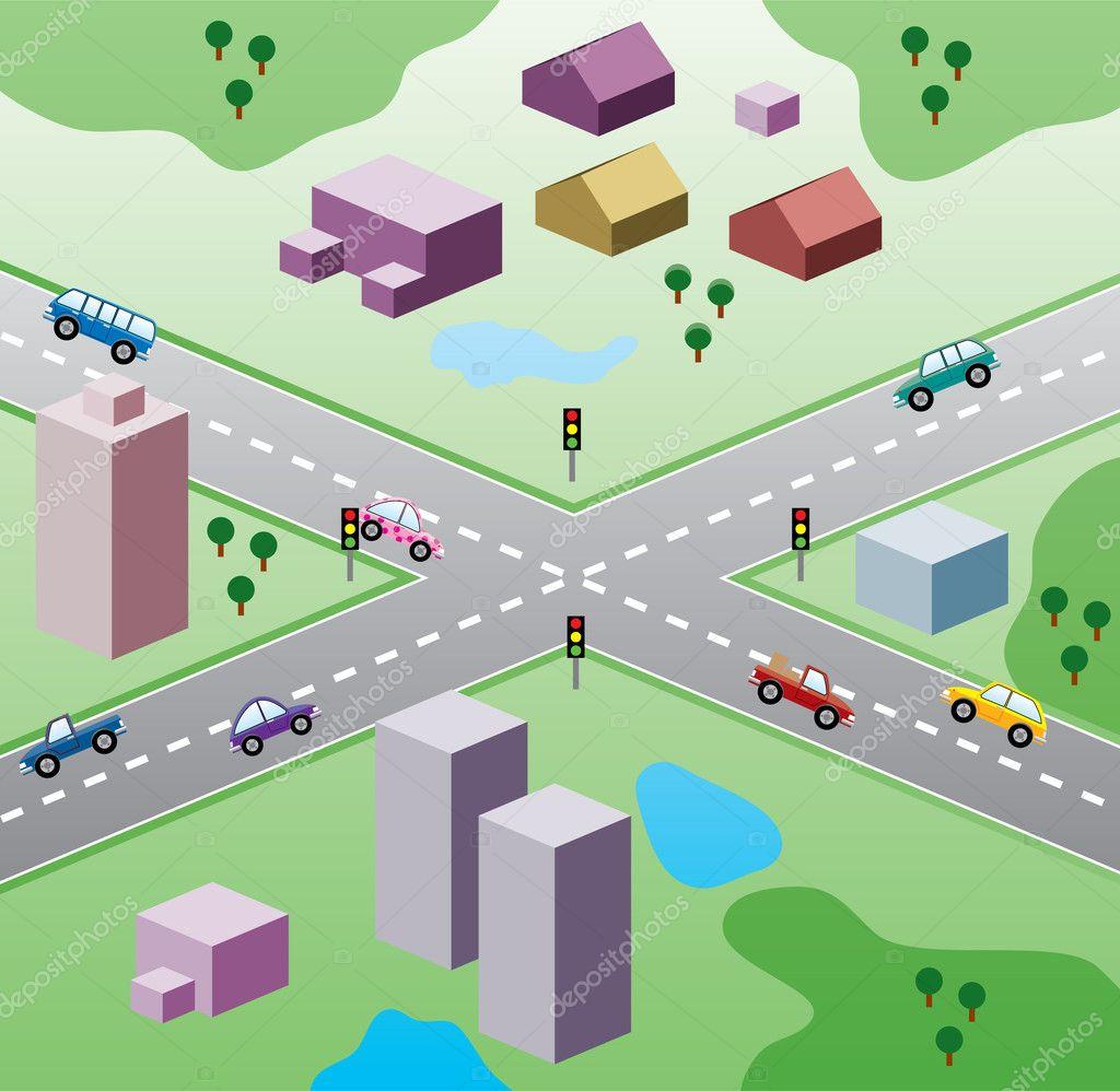 矢量插画与房子和道路上的汽车