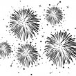 Black and white fireworks - Stock Vector