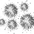 Stock Vector: Black and white fireworks