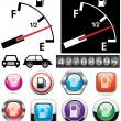 Stock Vector: Gas gauge and icons of petrol station