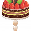 Stock Vector: Cake on stand with strawberry