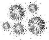 Black and white fireworks — Stock Vector
