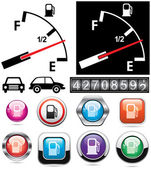 Gas gauge and icons of petrol station — Stock Vector
