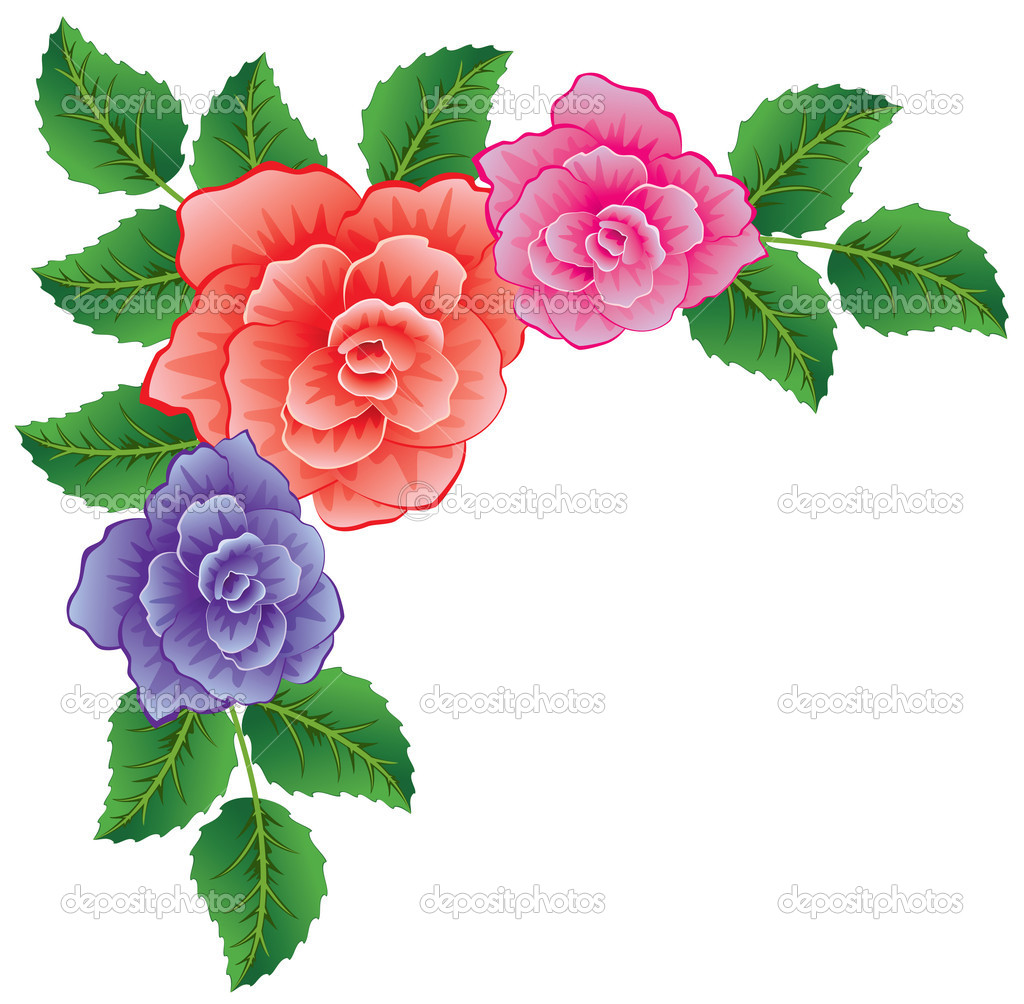 Vector background of colorful roses with leaves  — Stock Vector #6244039