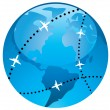 Royalty-Free Stock Vector Image: Flight paths over earth globe