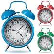 Set of colorful retro alarm clocks — Stock Vector