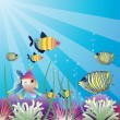 Underwater tropical fishes - Stock Vector