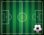 Pallone da calcio davanti al campo — Vettoriale Stock