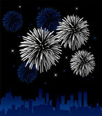 Fireworks over a city — Stock Vector