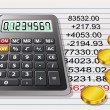 Royalty-Free Stock Vector Image: Calculator, golden coins and a sheet of paper with calcul