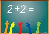 Elementary school students raising hands — Stock Vector