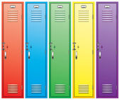 Colorful school lockers — Stock Vector