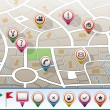 Royalty-Free Stock Vector Image: City map with GPS icons