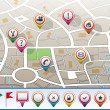 City map with GPS icons - Stock Vector