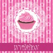 Retro card with pink cupcake — Stock Vector