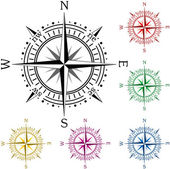 Set of colorful compasses — Stok Vektör