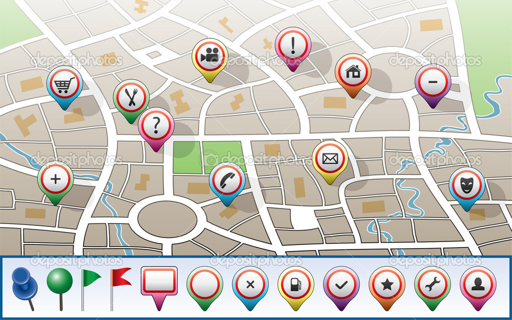 Vector city map with GPS icons  Stok Vektr #6508533