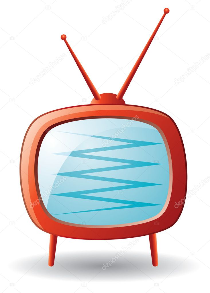 Vector red retro tv set — Stock Vector #6654672