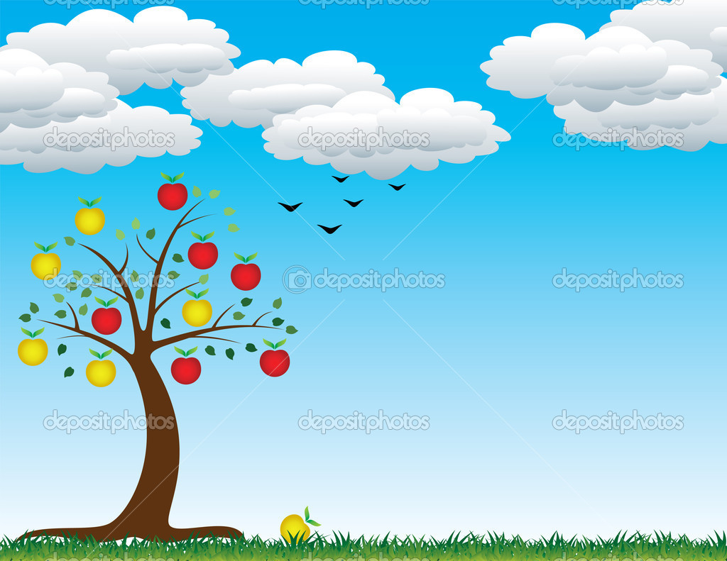 Vector apple tree — Stock Vector #6654718