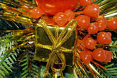 Gold box for festive Christmas tree — Стоковое фото
