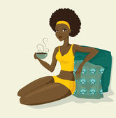 Beautiful african women with coffe — Stock Photo